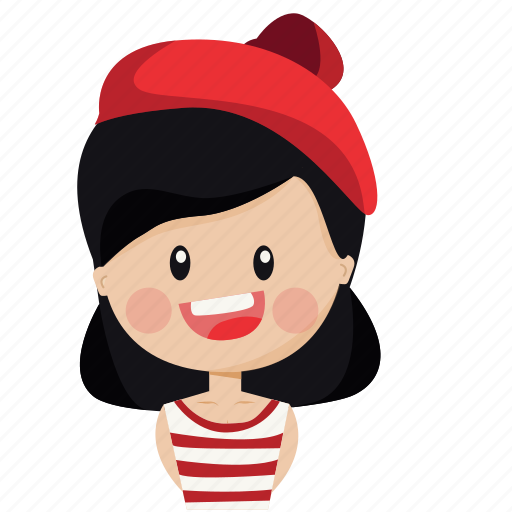 character, french, girl, happy, person, woman icon