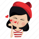 character, french, girl, kiss, love, person, woman icon