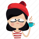 character, coffee, french, girl, hot, person, woman icon