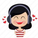 character, happy, headphones, love, music, person, woman icon