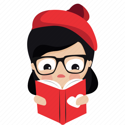 book, character, french, girl, person, read, woman icon