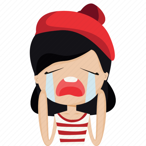 character, cry, french, girl, love, person, woman icon