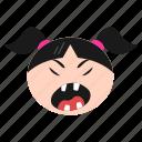 angry, annoyed, emoji, emoticon, face, girl, sad, women icon