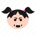 angry, devil, emoji, emoticon, face, girl, grinning, women icon