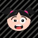 emoji, emoticon, excited, face, girl, happy, joyful, women icon