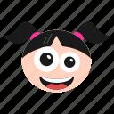 emoji, emoticon, excited, face, girl, happy, joyful, laughing, women