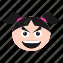 big, emoji, emoticon, face, girl, grin, happy, women icon