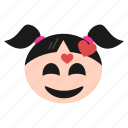 emoji, emoticon, face, feeling, girl, happy, loved, women icon