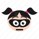 bandit, burglar, emoji, emoticon, face, girl, women icon