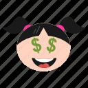 dollar, emoji, emoticon, eyes, face, girl, greedy, happy, women
