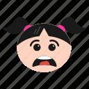 depressed, emoji, emoticon, face, frowning, girl, sad, women