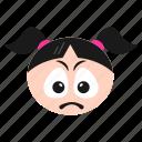 depressed, emoji, emoticon, face, girl, sad, smiley, women icon