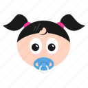 baby, emoji, emoticon, face, girl, kid, newborn, toddler, women icon