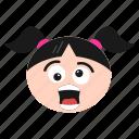 emoji, emoticon, face, girl, shocked, smile, surprised, women icon