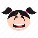 big, emoji, emoticon, face, girl, grin, happy, laughing, women icon