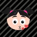 amorousness, cheerful, emoji, emoticon, face, girl, kiss, romantic, women icon