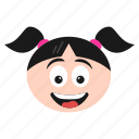 emoji, emoticon, face, girl, happy, surprised, women