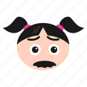 character, emoji, emoticon, face, girl, hipster, mustache, women icon