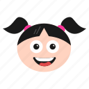 emoji, emoticon, face, girl, happy, surprised, women icon