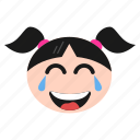 emoji, emoticon, face, girl, laughing, smiley, tears, women icon