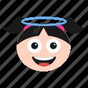emoji, emoticon, face, girl, halo, smiling, women