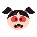 angry, devil, emoji, emoticon, evil, face, girl, grinning, smile, women icon