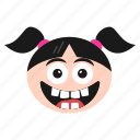 big, emoji, emoticon, face, girl, grin, laughing, women icon