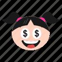 dollar, emoji, emoticon, eyes, face, girl, greedy, happy, money, women icon
