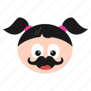emoji, emoticon, face, girl, hipster, mustache, women