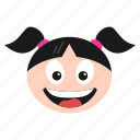 emoji, emoticon, face, girl, happy, laughing, women icon