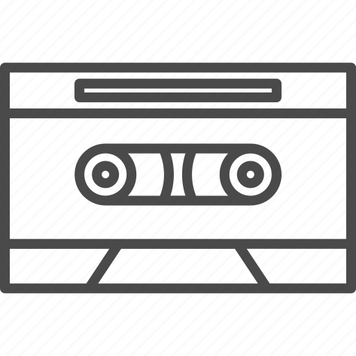 audio, cassette, line, media, music, retro, sound icon