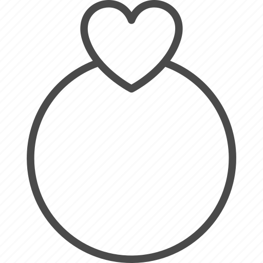 heart, line, love, outline, proposal, ring, wedding icon
