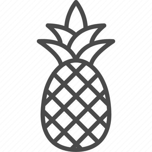 food, fruit, line, outline, pineappple, tropic, tropical icon