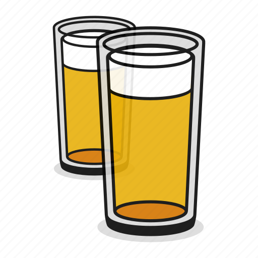 alcohol, ale, beer, beverage, drink, glass, two icon