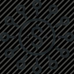 budget, connection, economics, finance, global, money, source icon