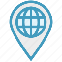 earth, globe, gps, location, pin, world icon