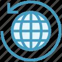 around, arrow, global business, globe, globe sync, sync, world