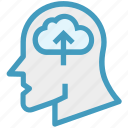 arrow, cloud, global business, head, thinking, uploading icon