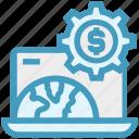 dollar sign, gear, globe, internet, laptop, money, settings