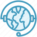 customer support, earth, global business, globe, headphone, headset, plant icon