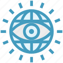 business, eye, globe, government, spy, surveillance, view icon