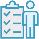 business, clipboard, document, male, people, user icon