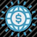 currency, dollar, globe, international, money, usd, world icon