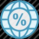 browser, earth, global, global business, globe, percentage, world icon