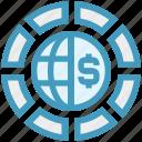 circle, currency, dollar, earth, globe, money, world