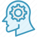 brainstorming, gear, head, idea, setup, strategy, support icon