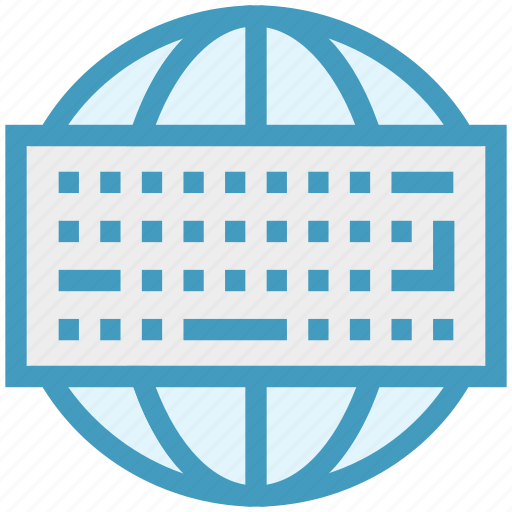 computer keyboard, global network, globe, input device, internet, keyboard, technology icon