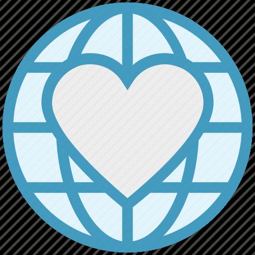 earth, global, globe, heart, like, love, world icon