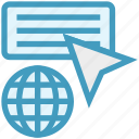 arrow, click, cursor, global business, web icon