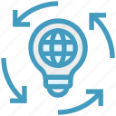 bulb, global business, globe, idea, light bulb icon
